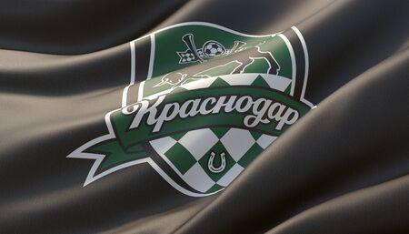 Krasnodar, Russia - may, 2019. Waved highly detailed close-up black flag with emblem of FC Krasnodar. 3D illustration.