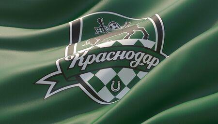 Krasnodar, Russia - may, 2019. Waved highly detailed close-up green flag with emblem of FC Krasnodar. 3D illustration.