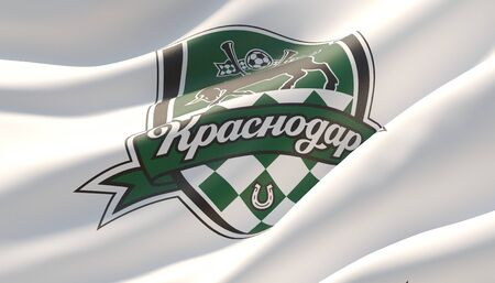 Krasnodar, Russia - may, 2019. Waved highly detailed close-up white flag with emblem of FC Krasnodar. 3D illustration.