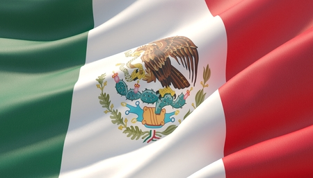 Waved highly detailed close-up flag of Mexico. 3D illustration.