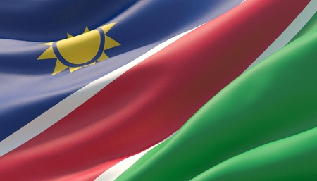 Waved highly detailed close-up flag of Namibia. 3D illustration. Фото со стока
