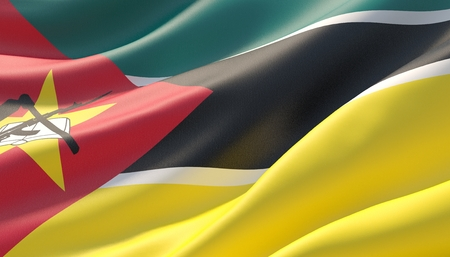 Waved highly detailed close-up flag of Mozambique. 3D illustration.