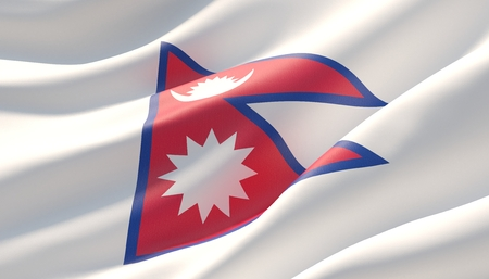 Waved highly detailed close-up flag of Nepal. 3D illustration.