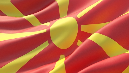 Waved highly detailed close-up flag of North Macedonia. 3D illustration. Stockfoto