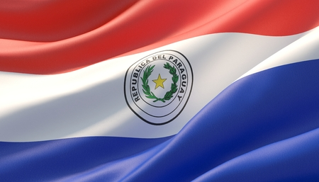 Waved highly detailed close-up flag of Paraguay. 3D illustration.