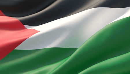 Waved highly detailed close-up flag of Palestine. 3D illustration.