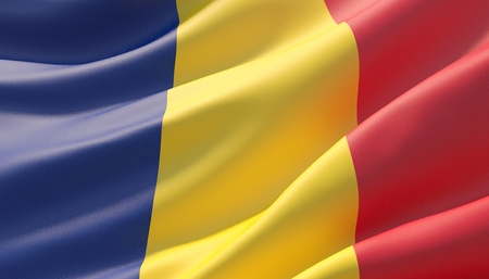 Waved highly detailed close-up flag of Romania. 3D illustration.