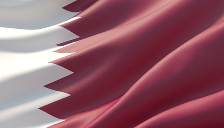 Waved highly detailed close-up flag of Qatar. 3D illustration. Stock Photo