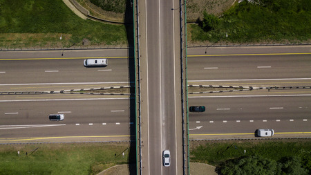 Top down view of highway intersection car bridge and moving cars Reklamní fotografie
