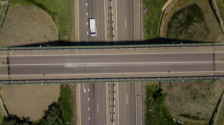 View from above of highway intersection car bridge and moving cars Reklamní fotografie