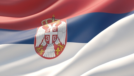 Waved highly detailed close-up flag of Serbia. 3D illustration.