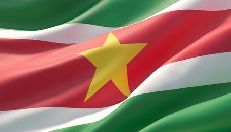 Waved highly detailed close-up flag of Suriname. 3D illustration.