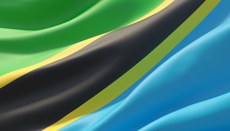 Waved highly detailed close-up flag of Tanzania. 3D illustration.