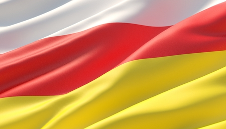Waved highly detailed close-up flag of South Ossetia. 3D illustration.