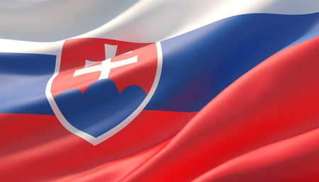 Waved highly detailed close-up flag of Slovakia. 3D illustration.
