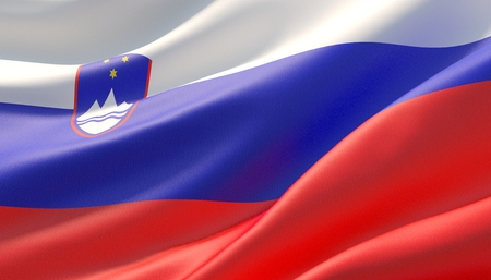 Waved highly detailed close-up flag of Slovenia. 3D illustration.