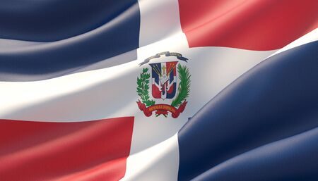 Background with flag of Dominican Republic