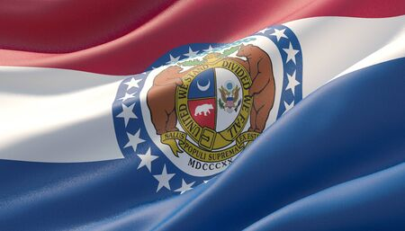 Flag of Missouri - United States of America states flags collection. 3D illustration. Archivio Fotografico - 125677458