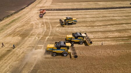 Krasnodar, Russia, 2019 - Combine harvesters Agricultural machinery. The machine for harvesting grain crops.