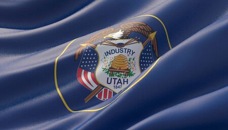 Flag of Utah - United States of America states flags collection. 3D illustration.