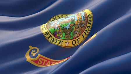 Flag of Idaho - United States of America states flags collection. 3D illustration. 写真素材 - 125677967