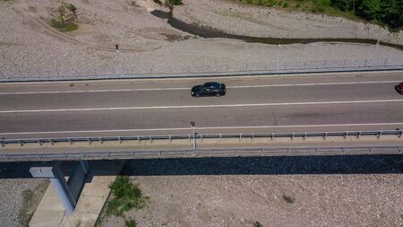 Top down view - Traffic on bridge Stock Photo