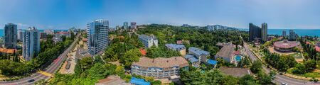 Sochi, Russia - july, 2018. Aerial panoramic view at summer. Wide format. Redakční