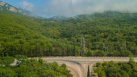 Beauty nature landscape Crimea with tree forest, roads, horizontal photo Фото со стока