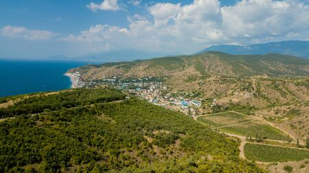 Crimea trip: view from above of curvy mountain road