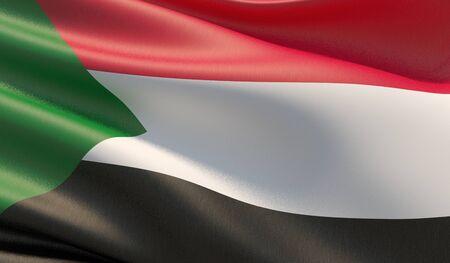 High resolution close-up flag of Sudan. 3D illustration. Stock Photo