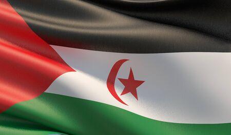 High resolution close-up flag of Sahrawi Arab Democratic Republic. 3D illustration. 版權商用圖片