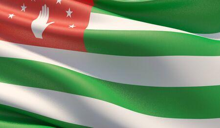 High resolution close-up flag of Abkhazia. 3D illustration.