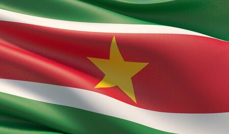 High resolution close-up flag of Suriname. 3D illustration. Фото со стока