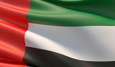 High resolution close-up flag of United Arab Emirates. 3D illustration.