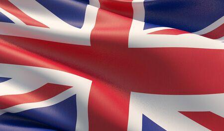 High resolution close-up flag of UK. 3D illustration.