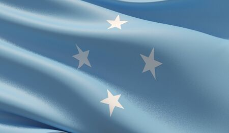 High resolution close-up flag flag of Micronesia. 3D illustration.