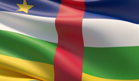 High resolution close-up flag of Central African Republic. 3D illustration. Фото со стока
