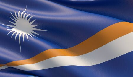 High resolution close-up flag of Marshall Islands. 3D illustration.
