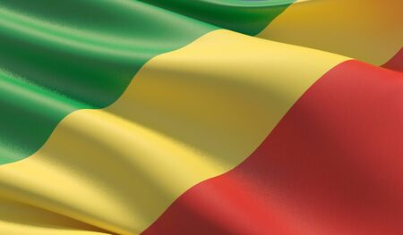 High resolution close-up flag of Republic of the Congo. 3D illustration.