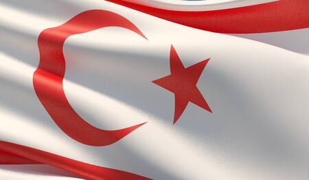 High resolution close-up flag of Northern Cyprus. 3D illustration.
