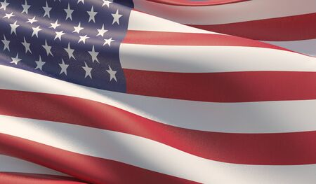 High resolution close-up of American Flag. 3D illustration.