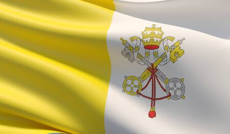 High resolution close-up flag of Vatican City. 3D illustration.