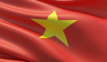 High resolution close-up flag of Vietnam. 3D illustration.