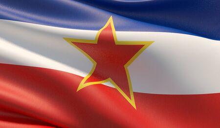 High resolution close-up flag of Yugoslavia. 3D illustration.