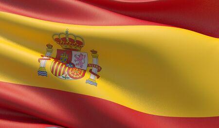 High resolution close-up flag of Spain. 3D illustration. 版權商用圖片