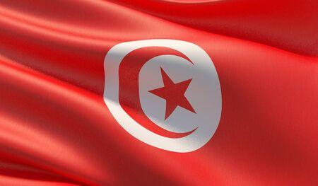 High resolution close-up flag of Tunisia. 3D illustration. 版權商用圖片