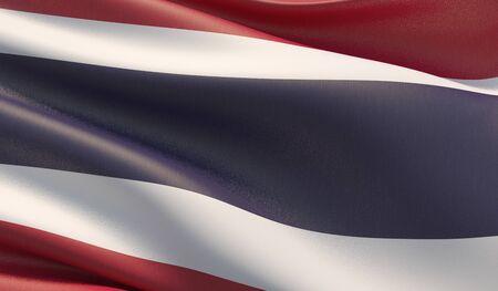 High resolution close-up flag of Thailand. 3D illustration. 版權商用圖片