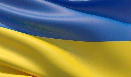 High resolution close-up flag of Ukraine. 3D illustration.