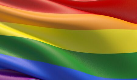 High resolution close-up bright rainbow gay flag. LGBT community. 3D illustration.
