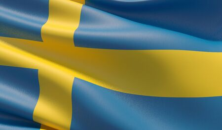 High resolution close-up flag of Sweden. 3D illustration.